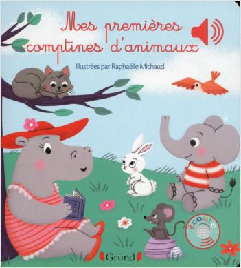 Mes premières comptines d'animaux – Livre sonore avec 6 puces – Dès 1 an