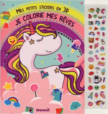 Mes petits stickers en 3D - Je colorie mes rêves (Licorne)