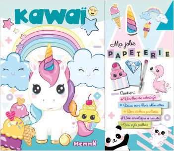 Kit papeterie et coloriages avec stickers et 1 stylo pailleté - Style Kawaï - dès 5 ans