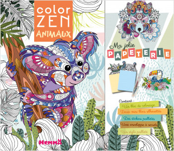 Color Zen - Kit  papeterie et coloriages avec stickers et 1 stylo pailleté - dès 7 ans