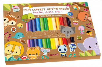 Je sais tout dessiner -  Kit avec crayons, feutres pailletés et bloc, pour apprendre à dessiner pas à pas - dès 5 ans