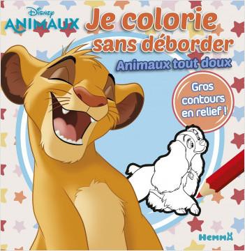 Disney Animaux - Je colorie sans déborder - Les animaux tout doux - Livre de coloriage avec contours en relief - Dès 3 ans