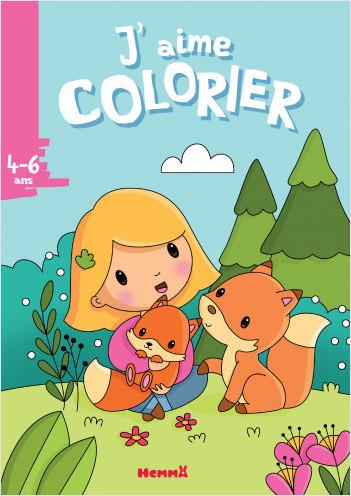 Petite fille et renards – Livre de coloriage – dès 4 ans
